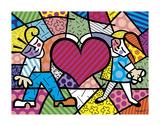 Niños y corazón Láminas por Romero Britto