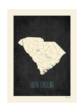 Black Map South Carolina Posters by Rebecca Peragine