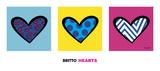 Heart Triptych Affiches par Romero Britto