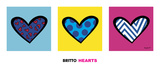Heart Triptych Prints by Romero Britto