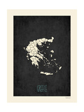 Black Map Greece Posters by Rebecca Peragine