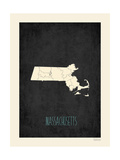 Black Map Massachussetts Prints by Rebecca Peragine