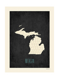 Black Map Michigan Posters by Rebecca Peragine