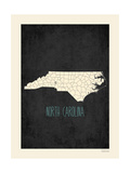 Black Map North Carolina Prints by Rebecca Peragine