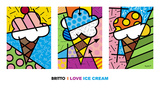I Love Ice Cream Print by Romero Britto