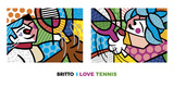 I Love Tennis Prints by Romero Britto