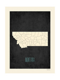 Black Map Montana Posters by Rebecca Peragine