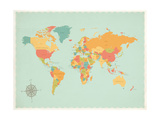 Vintage World Map Poster by Rebecca Peragine