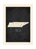 Black Map Tennessee Reprodukcje autor Rebecca Peragine