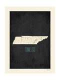 Black Map Tennessee Prints by Rebecca Peragine