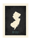 Black Map New Jersey Prints by Rebecca Peragine