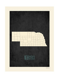 Black Map Nebraska Prints by Rebecca Peragine