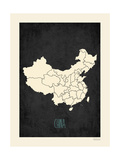 Black Map China Prints by Rebecca Peragine