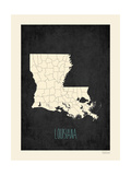 Black Map Louisana Posters by Rebecca Peragine