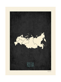 Black Map Russia Art by Rebecca Peragine