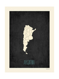 Black Map Argentina Prints by Rebecca Peragine