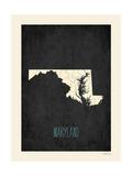 Black Map Maryland Plakaty autor Rebecca Peragine