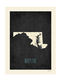 Black Map Maryland Posters by Rebecca Peragine