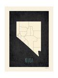 Black Map Nevada Poster by Rebecca Peragine