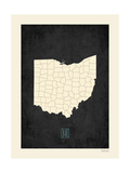 Black Map Ohio Prints by Rebecca Peragine