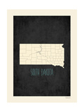Black Map South Dakota Print by Rebecca Peragine