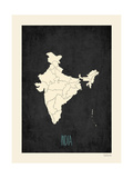 Black Map India Prints by Rebecca Peragine