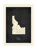 Black Map Idaho Prints by Rebecca Peragine