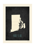 Black Map Rhode Island Poster von Rebecca Peragine