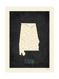 Black Map Alabama Poster by Rebecca Peragine