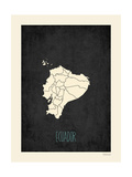 Black Map Ecuador Premium Giclee Print by Rebecca Peragine