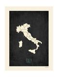 Black Map Italy Reprodukcje autor Rebecca Peragine
