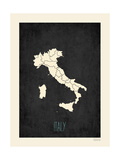 Black Map Italy Prints by Rebecca Peragine