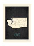 Black Map Washington Posters by Rebecca Peragine