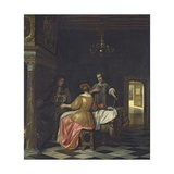 Interior with a Gentleman and Two Ladies Conversing, C.1668-70 Giclee Print by Pieter de Hooch