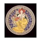 Decorative Plate with the Symbol of the Paris International Exhibition, 1897 Giclee Print by Alphonse Mucha
