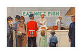 More Than Half the Catch Is Sold as Fried Fish, from the Series 'Caught by British Fishermen' Giclee Print by Charles Pears