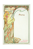 Moet and Chandon Menu, 1899 Giclee Print by Alphonse Mucha