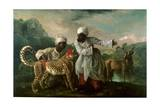 Cheetah and Stag with Two Indians, C.1765 Giclee Print by George Stubbs