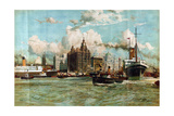 The River Mersey, from the Series 'Western Gateway to the Empire', 1928 Giclee Print by Charles Edward Dixon