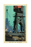Our Steel for Australia, from the Series 'Empire Buying Makes Busy Factories' Giclee Print by Frank Newbould