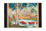 Cattle Raising - Australia, 1927 Giclee Print by Gregory Brown