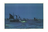 Herring Drifters in the North Sea Giclee Print by Charles Pears