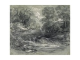 Landscape with Farm Cart on a Winding Track Between Trees Giclee Print by Thomas Gainsborough