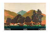 Butter and Cheese, from the Series 'Buy New Zealand Produce' Giclee Print by Frank Newbould
