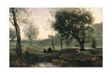 Sunset: Figures under Trees Giclee Print by Jean-Baptiste-Camille Corot