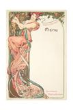 Moet and Chandon Menu, 1899 Lámina giclée por Alphonse Mucha