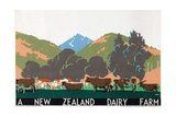 A New Zealand Dairy Farm, from the Series 'Buy New Zealand Produce' Giclee Print by Frank Newbould