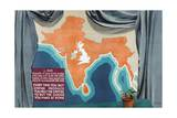 India and the British Isles Drawn to the Same Scale Giclee Print by Keith Henderson