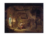 Interior of a Barn with an Old Woman at a Distaff Giclee Print by Isack van Ostade