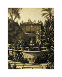 Courtyard Fountain Giclee Print by David Parks